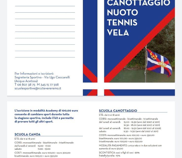 Offerta delle scuole sportive 2020 del Reale Circolo Canottieri Tevere Remo